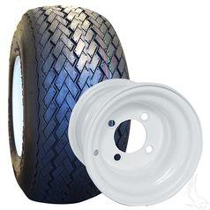 8 Inch Golf Cart Wheel Tire Combo White Steel Wheels Golf Cart Wheels Steel