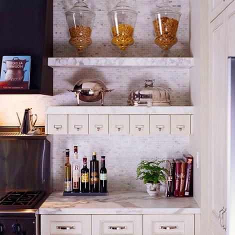Perfect Marble Shelves Kitchen