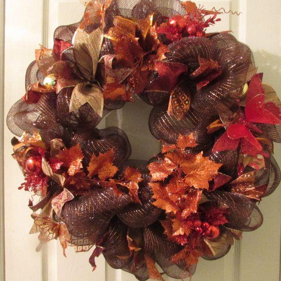Thanksgiving Front Door: Thanksgiving Deco Mesh Wreath