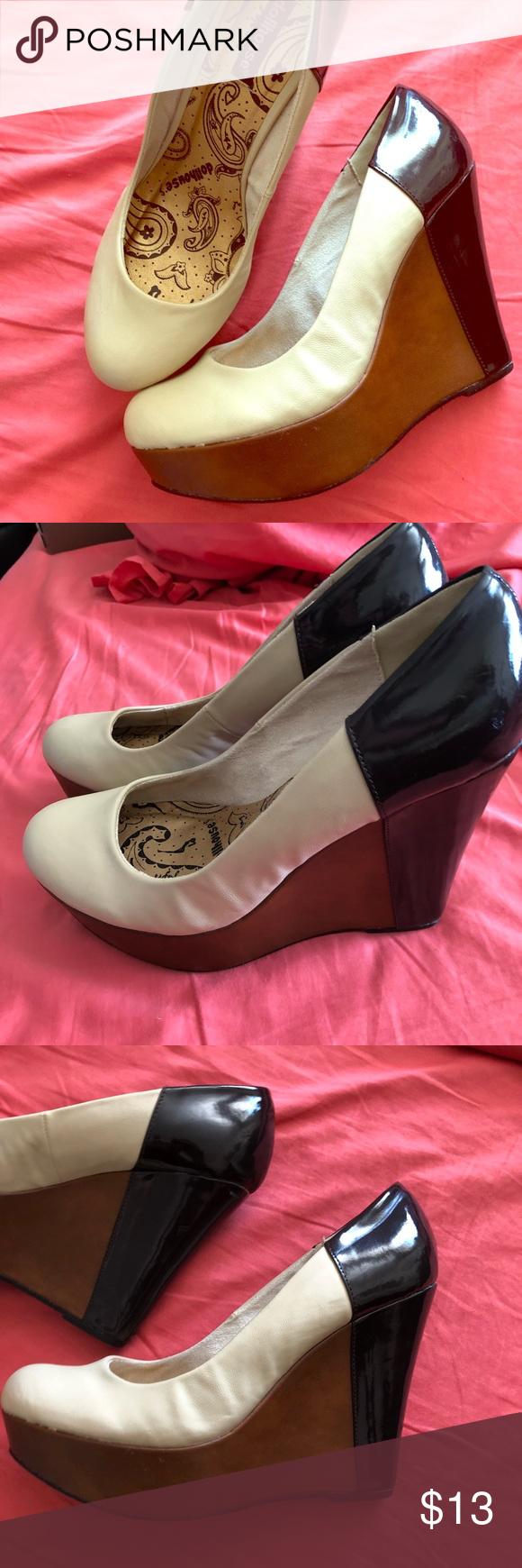 ce866b86569 Dollhouse Wedge Heels EUC. Tricolor wedge heels. Black patent