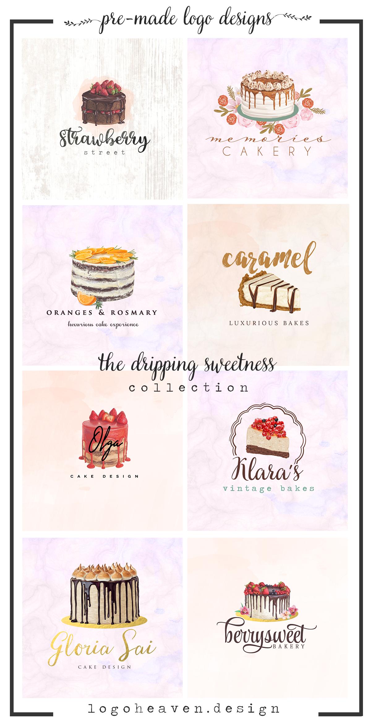 the dripping sweetness collection beautiful cakery bakery pre made logo designs makanan dan minuman makanan kue beautiful cakery bakery pre made logo