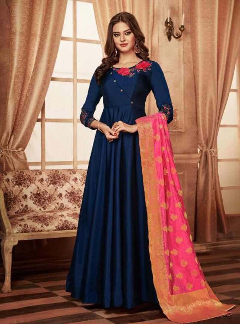 91724247ad2c6 Buy Navy Blue Taffeta Long Anarkali Suit 149427 online at lowest price from  huge collection of salwar kameez at Indianclothstore.com.