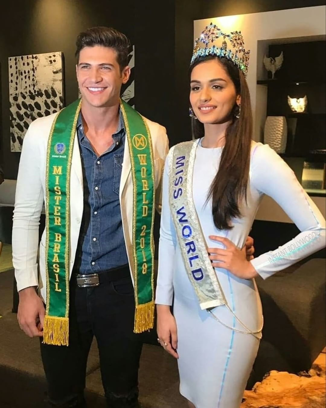 So Stunning! Miss World Manushi Chhillar with Mr Brazil 2018