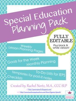 special education planning pack fully editable special education
