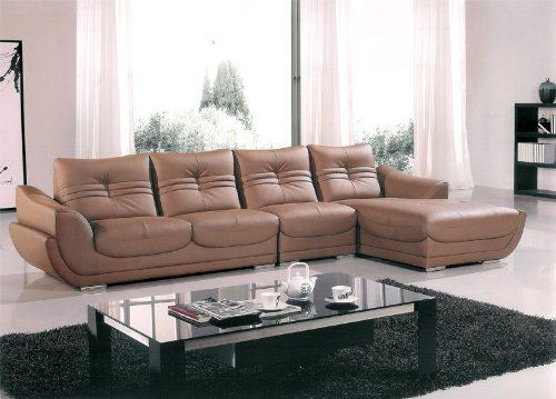 Amazon.com - 3pc Transitional Sectional Modern Leather Sofa Set, AM-L706-DT - Sofa Sectionals With Chaise