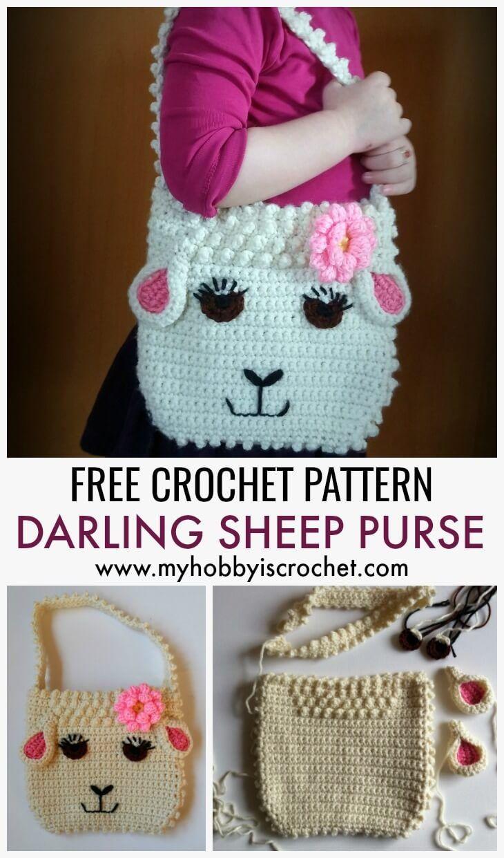 Darling Sheep Purse - Free Crochet Pattern #eastercrochetpatterns