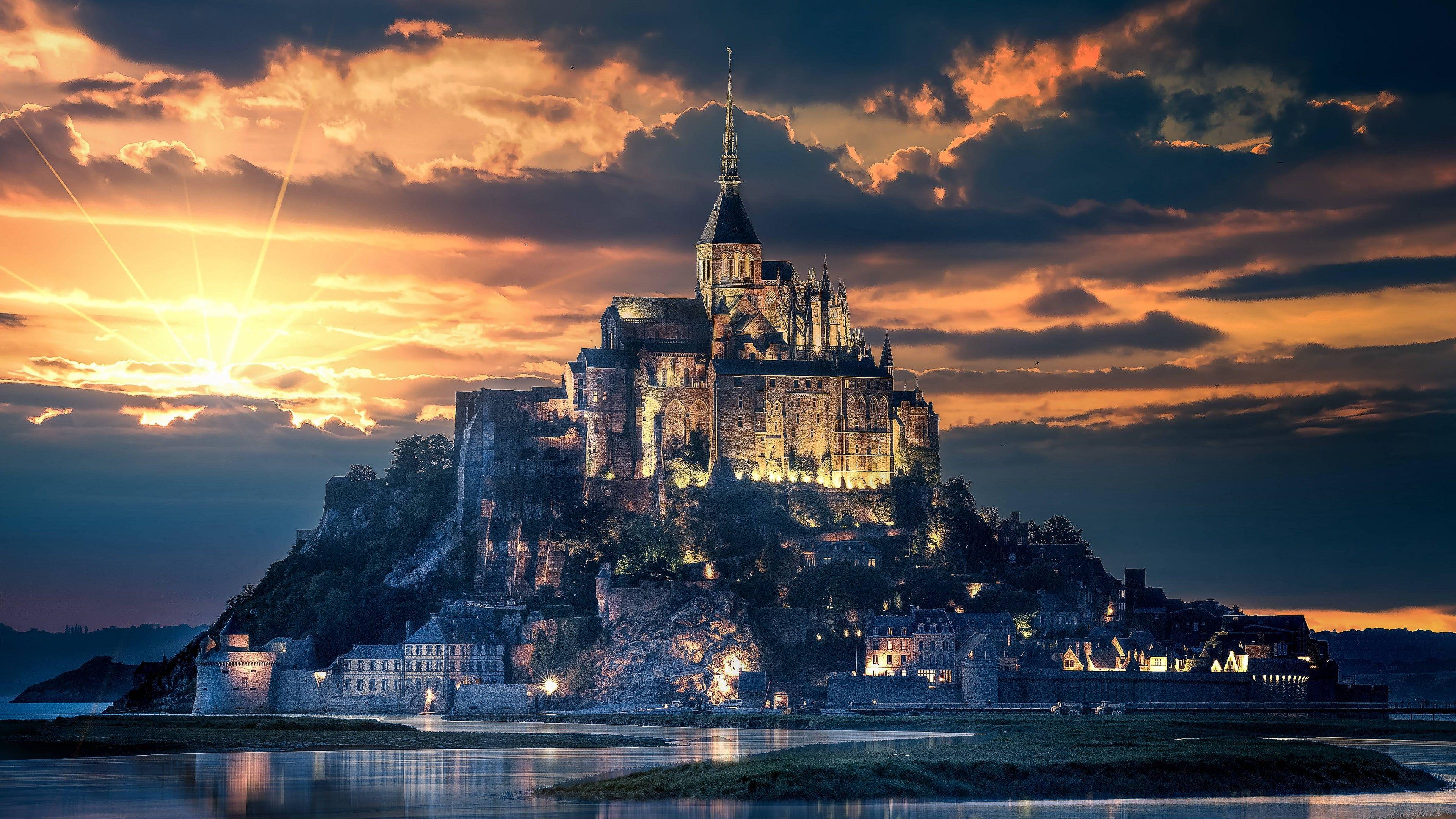 Mont Saint Michel Mont Saint Michel Abbey Normandy France Europe Monastery 4k Wallpaper Hdwallpaper Desktop Wallpaper Bichinho Cenario