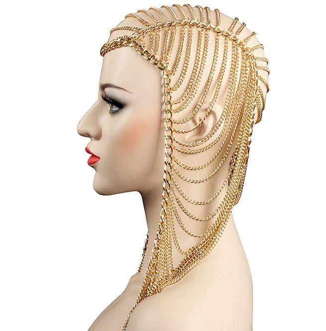 Punk Rock Multi Layer Metal Head Chain Jewelry Forehead Headband Hair Piece