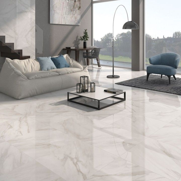 Calacatta White Gloss Floor Tiles Have A Stylish Marble Effect Finish In Either Grey Or Beige These Living Room Tiles White Tile Floor Tile Floor Living Room