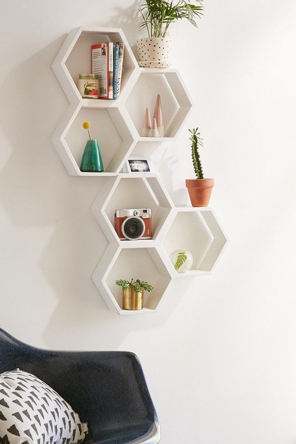 triple honeycomb wooden shelf. wooden wall shelf perfect for