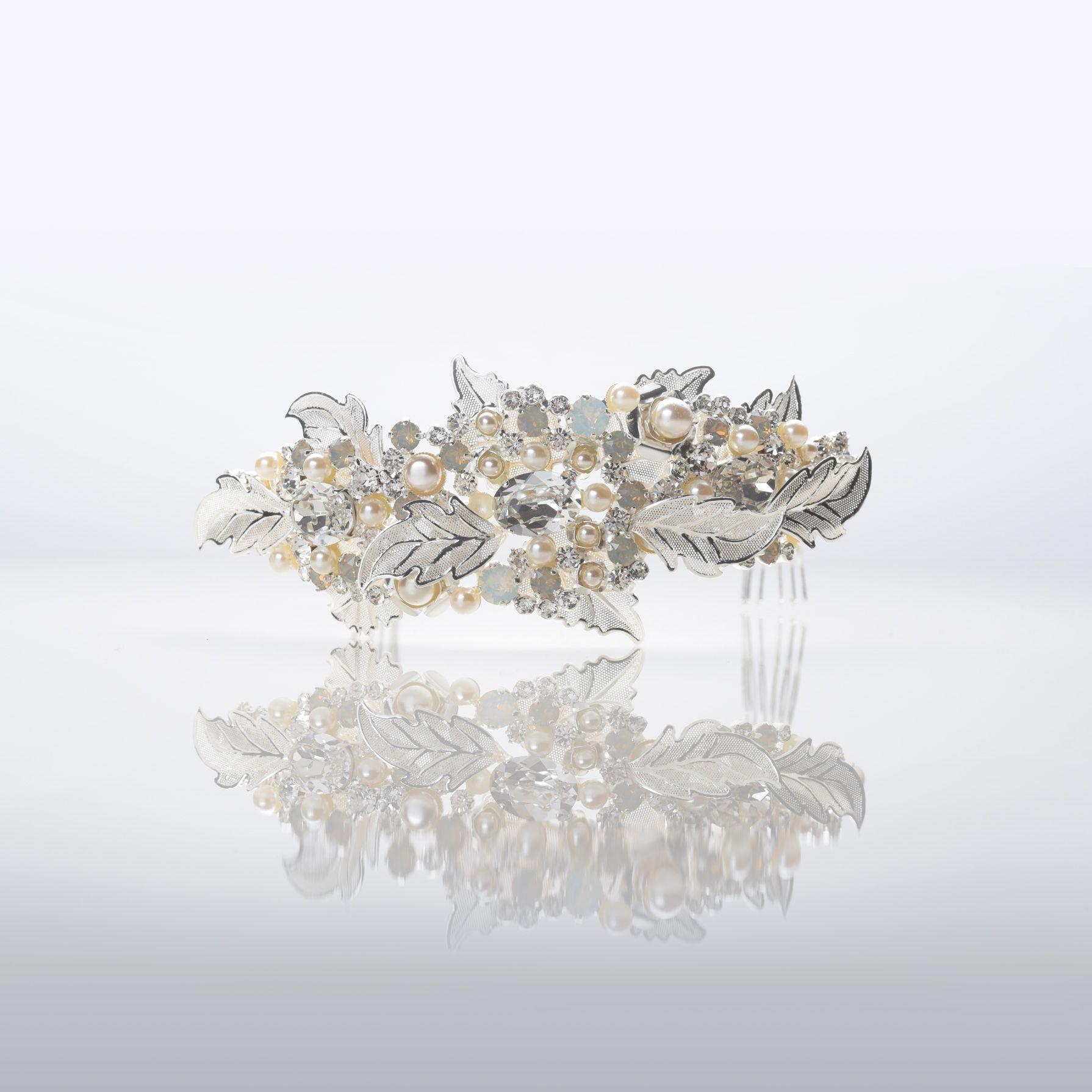 Jewel: NIBI18005SL // Coroncina Con Decorazioni A Motivo Di Foglie Di  Colore Argento,