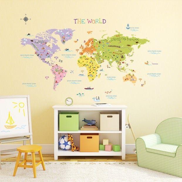 Weltkarte Wandaufkleber Kinderzimmer Ideen Coole Wanddeko Deavita