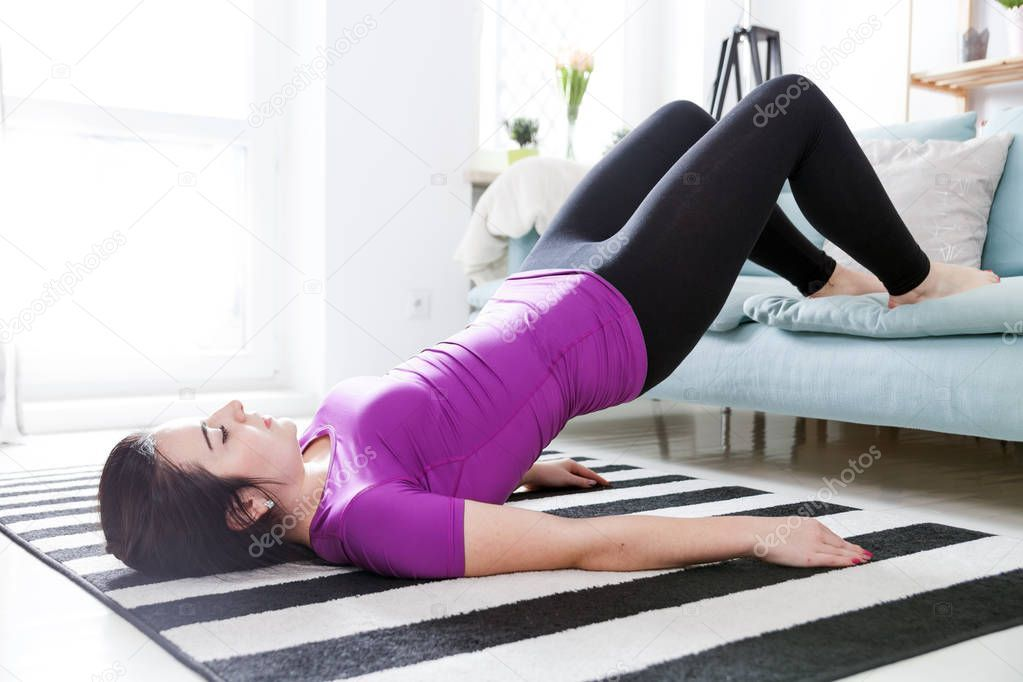Young Woman Exercising On Carpet At Home Interior Stock Photo Ad Exercising Carpet Young Woman Ad In 2020 Fit Women Women Exercise
