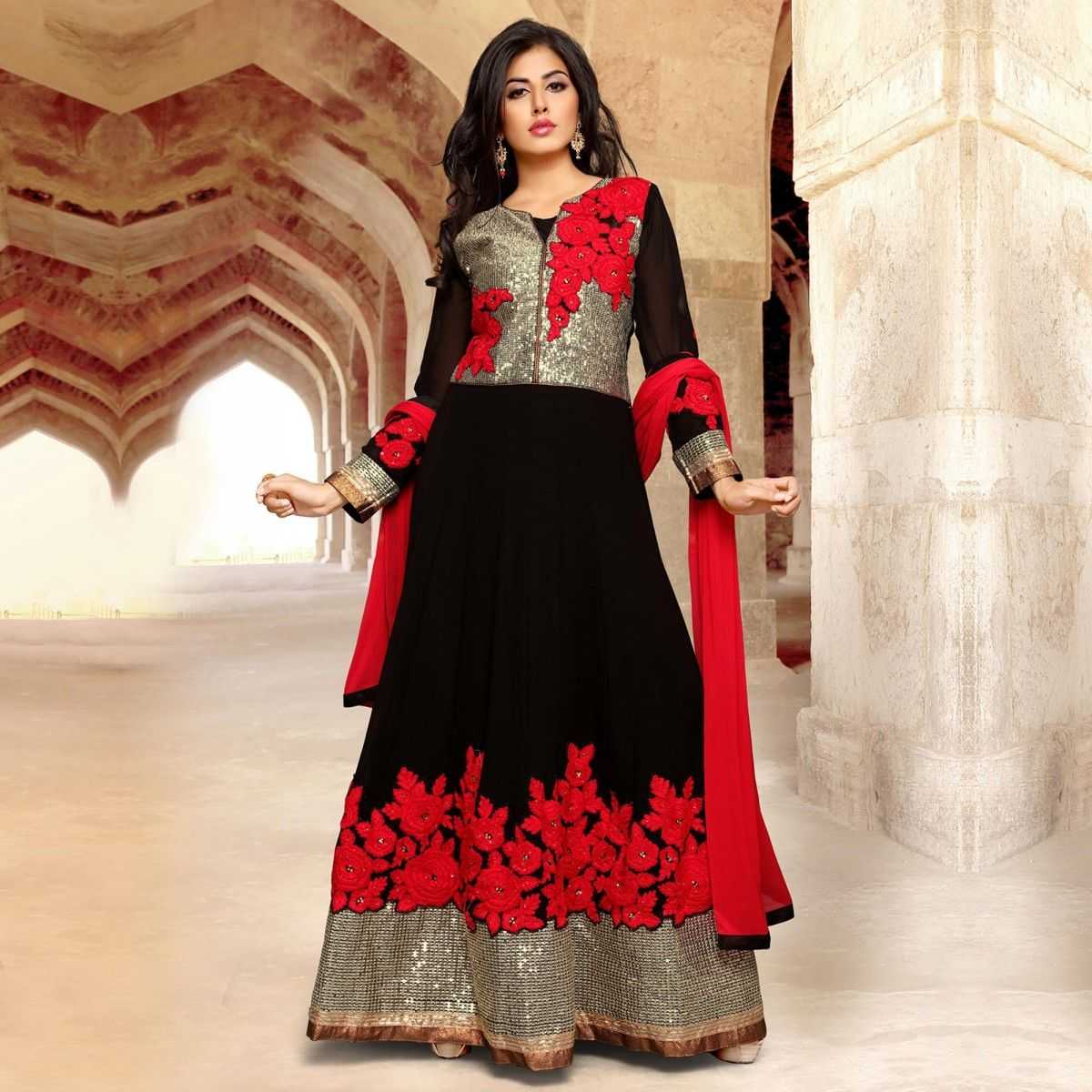 Buy Black Floor Length Wedding Wear Anarkali for womens online ...