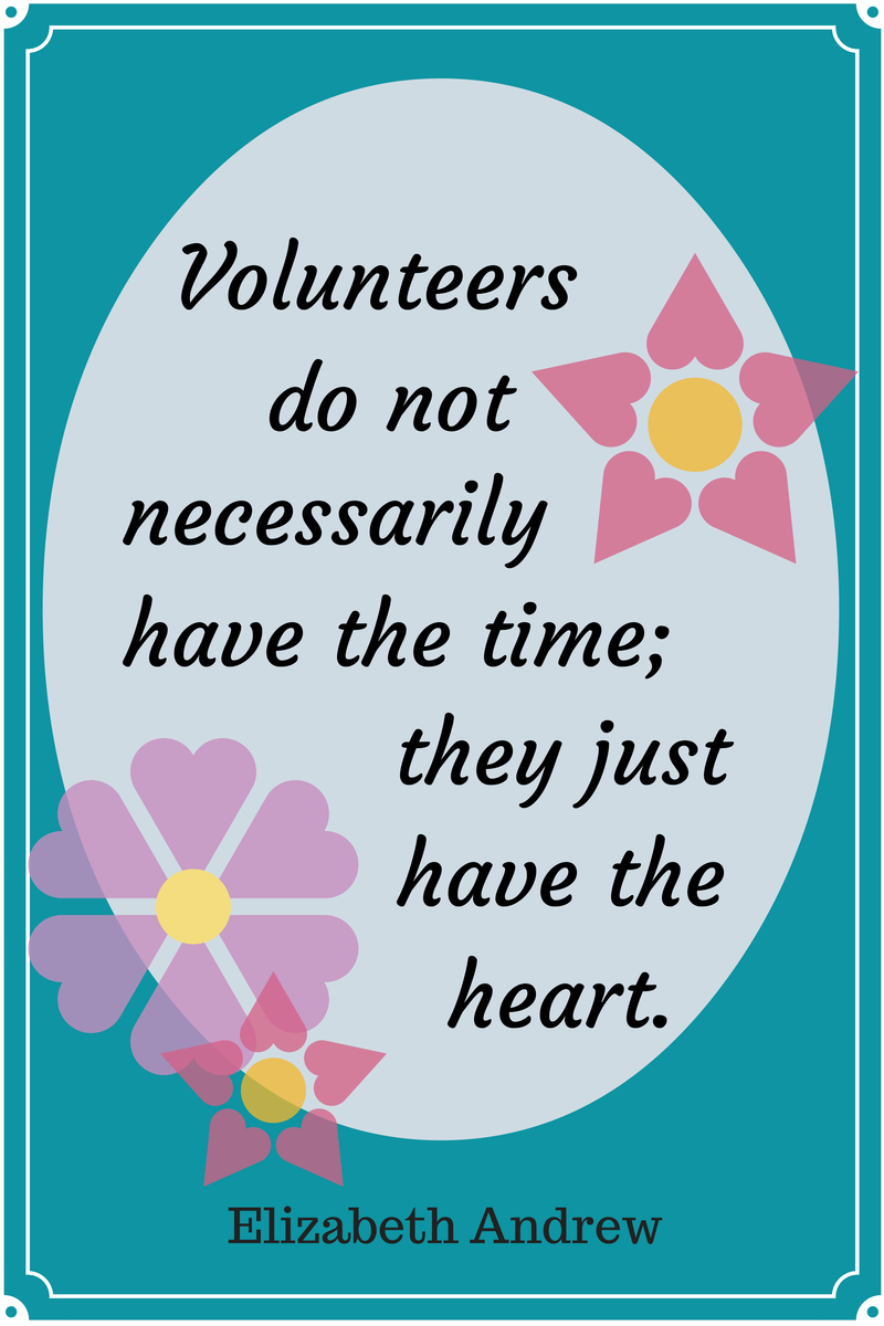 Lovely quote on volunteering by Elizabeth Andrew