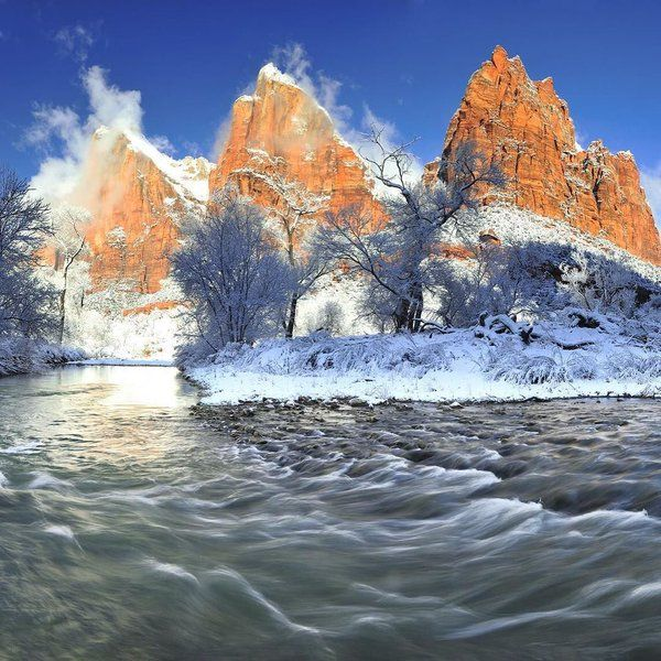 Zion Canyon National Park Winter over the Virgin River..(6) Twitter