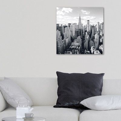 Platin Art Deco Glass Skyline of Manhattan Photographic Print