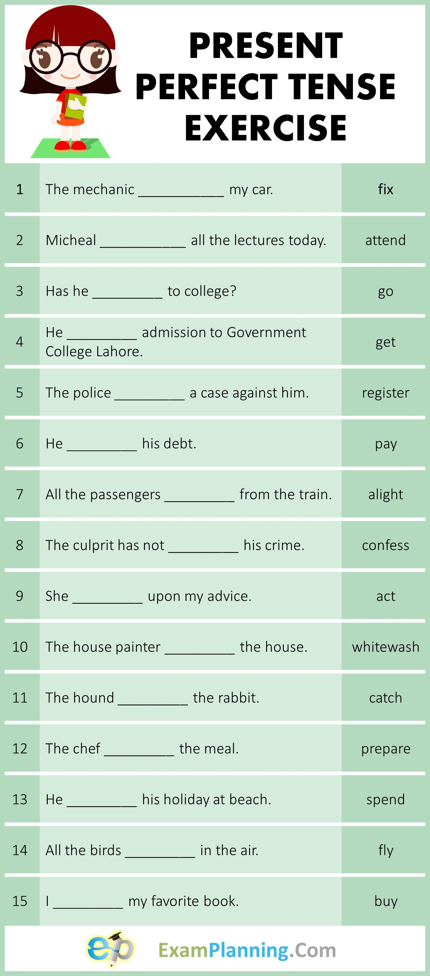 Present Perfect Tense Exercises In