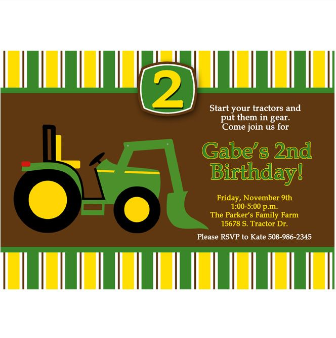 John Deere Inspired Printable Invitation 2 DIY green yellow john