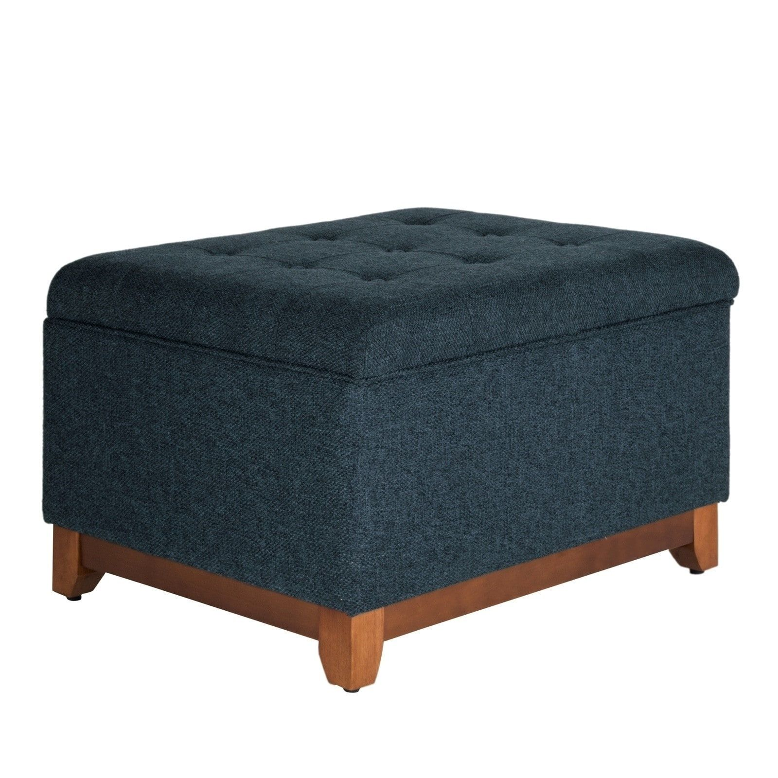 Excellent Textured Fabric Upholstered Wooden Ottoman With Button Caraccident5 Cool Chair Designs And Ideas Caraccident5Info