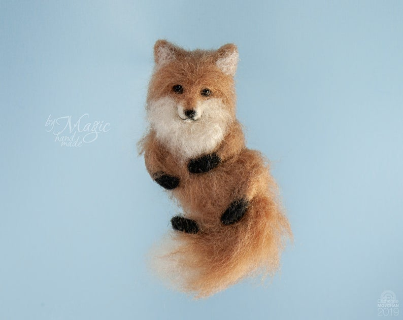 Needle felted fox brooch wool fox pin woodland brooch Fox Brooch
