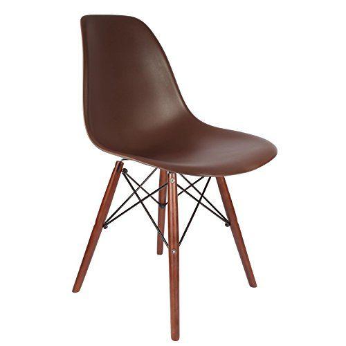 promo lot de 2 x chaise design dsw pieds bois vernis noyer assise marron mobistyl mobi dswd. Black Bedroom Furniture Sets. Home Design Ideas