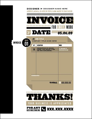 Invoice For (design) Work Typography, Poster layout and - work invoices