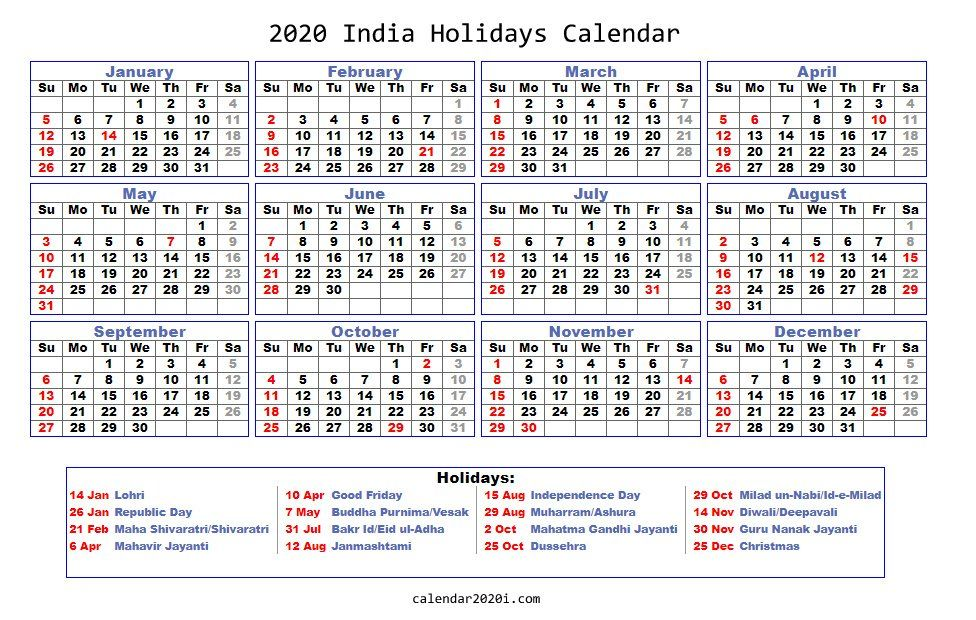 2020 Holidays Calendar Printable Worldwide Holiday Calendar