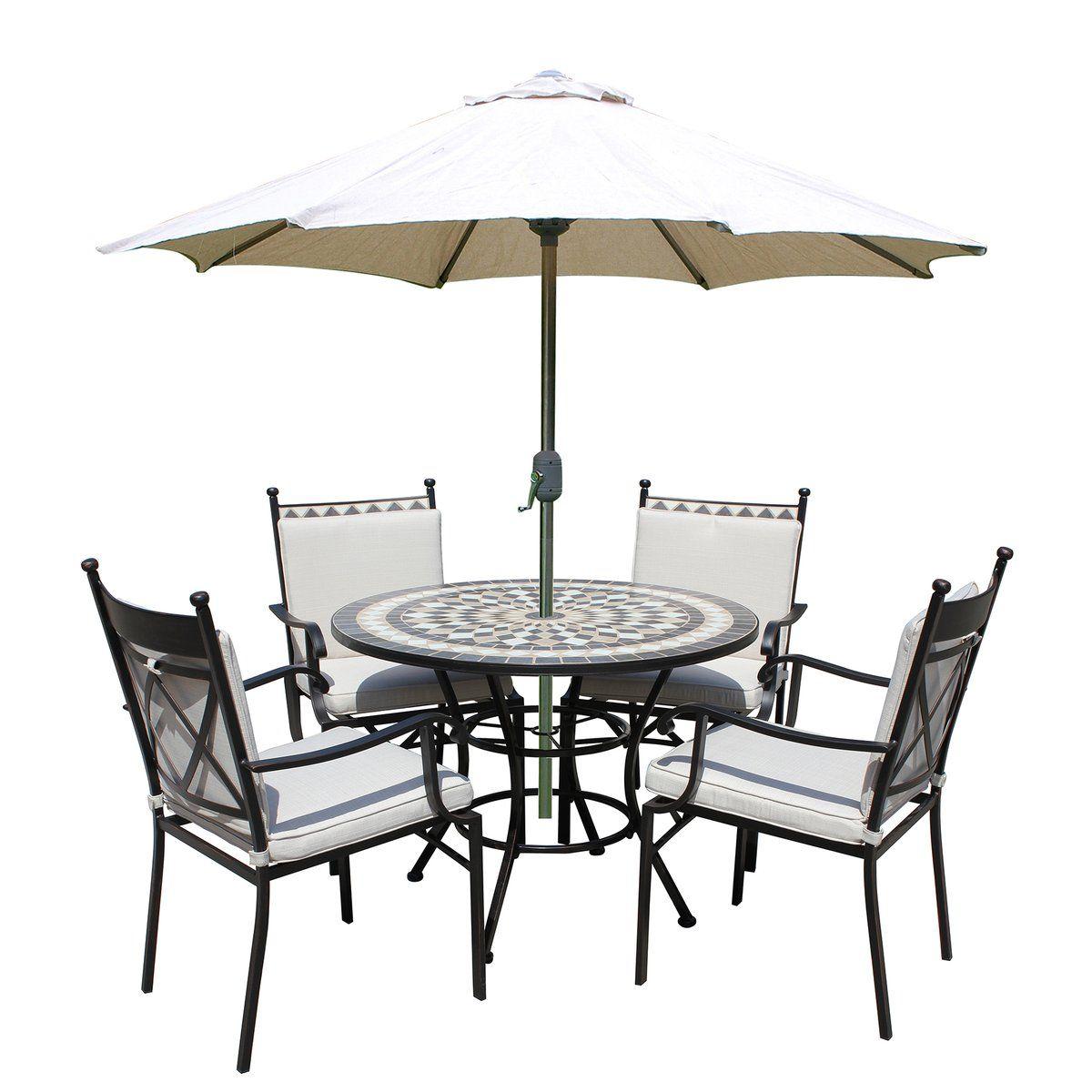Leisuregrow Casablanca Metal Ceramic 100cm Round 4 Seater Dining Garden Furniture Set With Beige Cushions Garden Furniture Sets Furniture Sets Furniture
