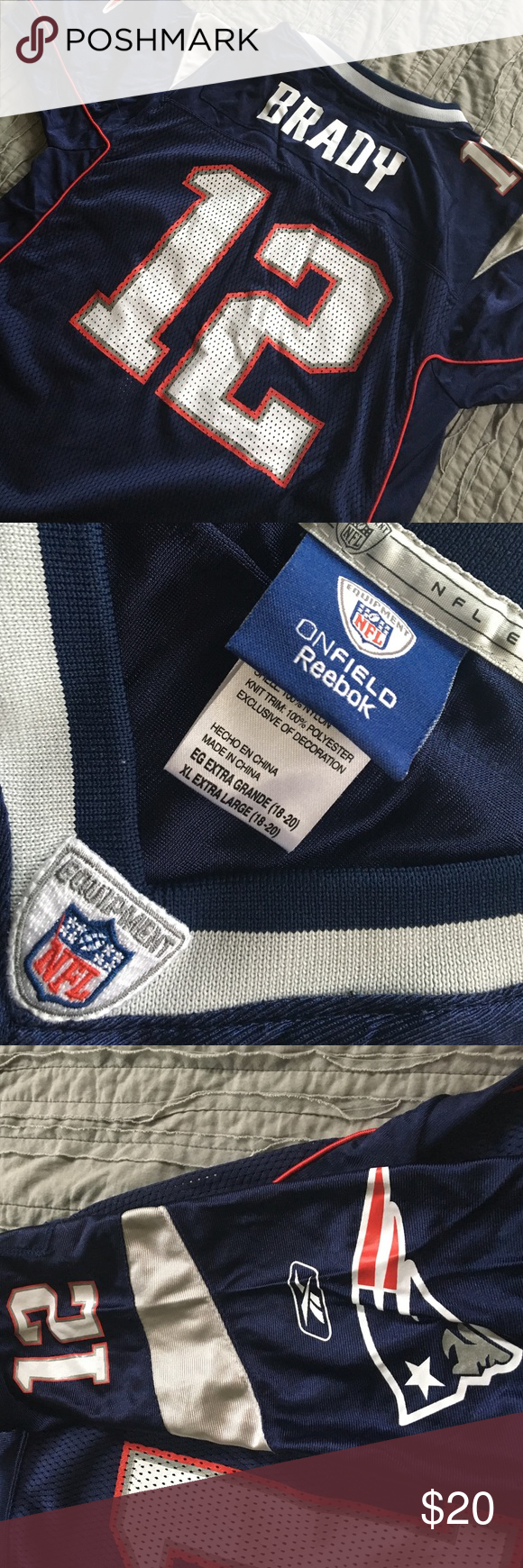 New England Patriots jersey Tom Brady xl 18-20 New England Patriots extra-large (youth) jersey size 18-20. Would also fit a women's medium to large or a men's small. Go Pats! Check out my other listings for Boston/New England sports teams apparel! Reebok Shirts & Tops Tees - Short Sleeve