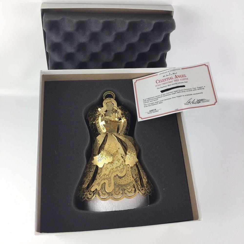 Danbury Mint Celestial Angel 23k Gold Christmas Tree Topper Box