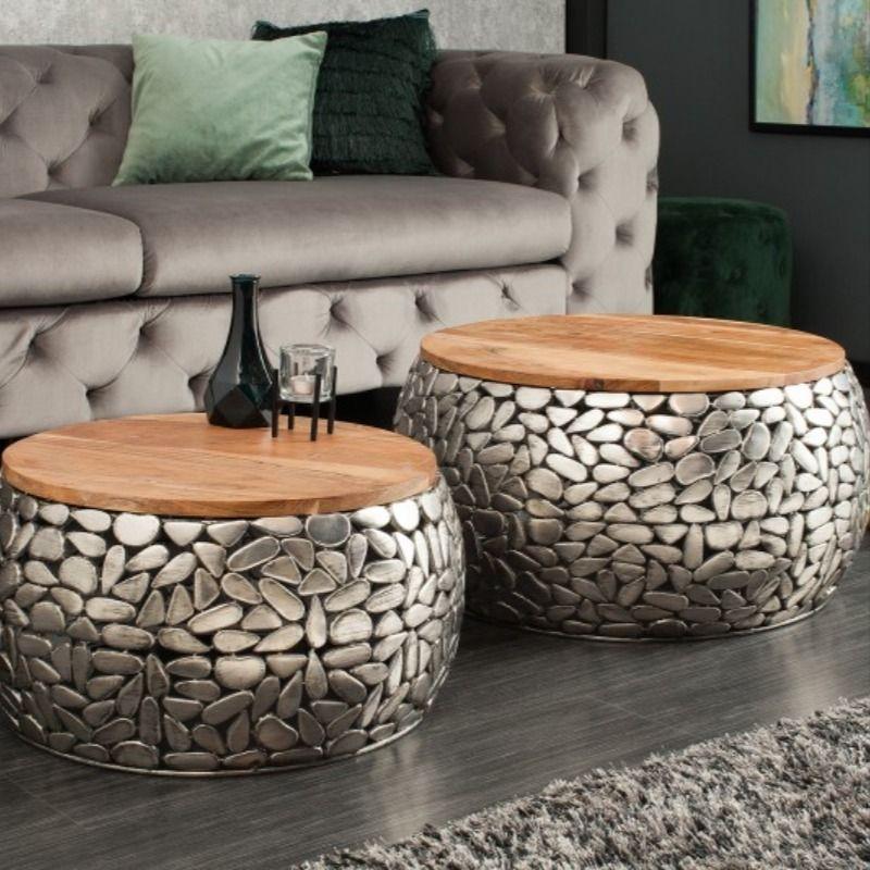 tables basse mosaique de pierres argent