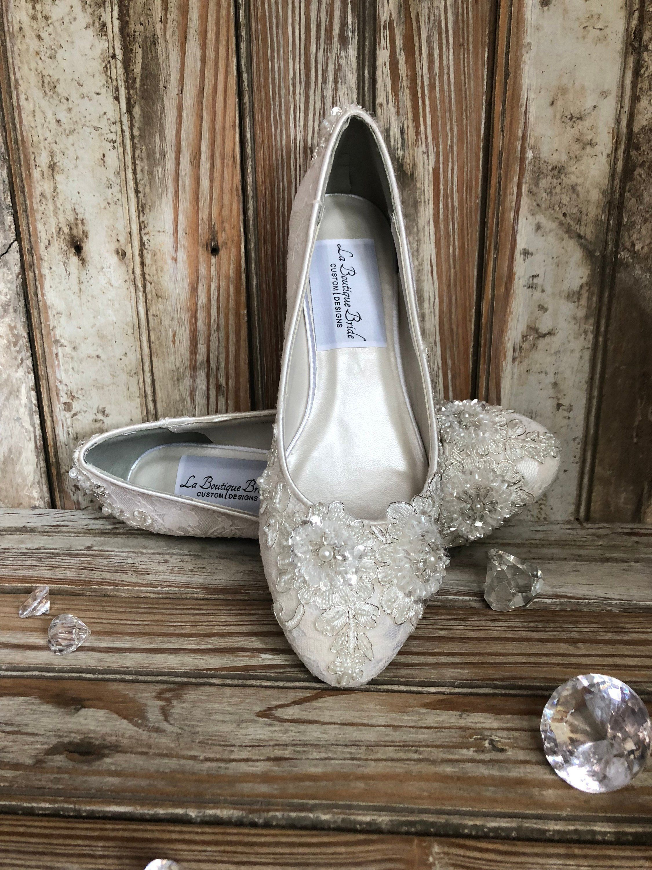 Bridal Lace Closed Toe Flat 1 2 Inch Heel Lace Beaded Lace Embellished Silver Thread Closed Toe Pump Bridal Shoes Flats Peep Toe Wedding Shoes Closed Toe Pumps