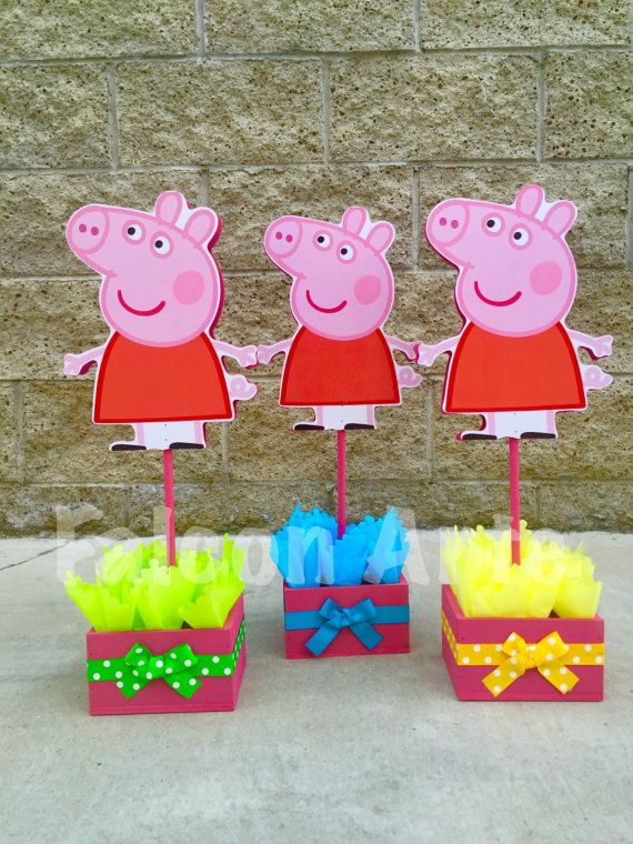Peppa Pig Centerpiece Wood Handcrafted For 1st 2nd 3rd 4th 5th Birthday Centerpie Fiesta Tematica Peppa Pig Fiestas Peppa Pig Fiesta De Cumpleaños De Peppa Pig