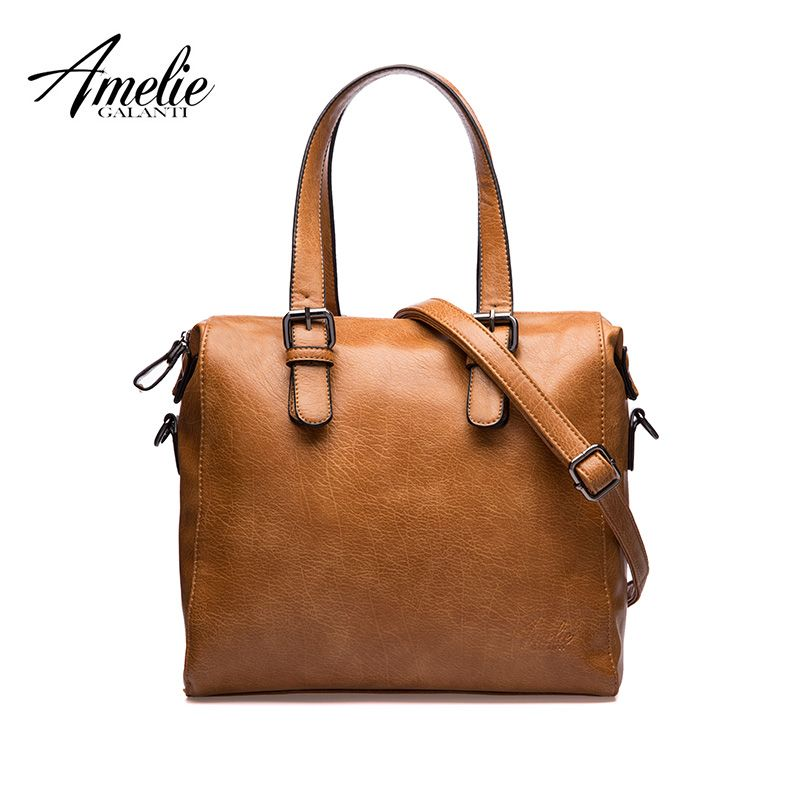 b9d2338953f0 AMELIE GALANTI woman soft PU vintage solid crossbody casual flap bags  famous designer fashion brand women