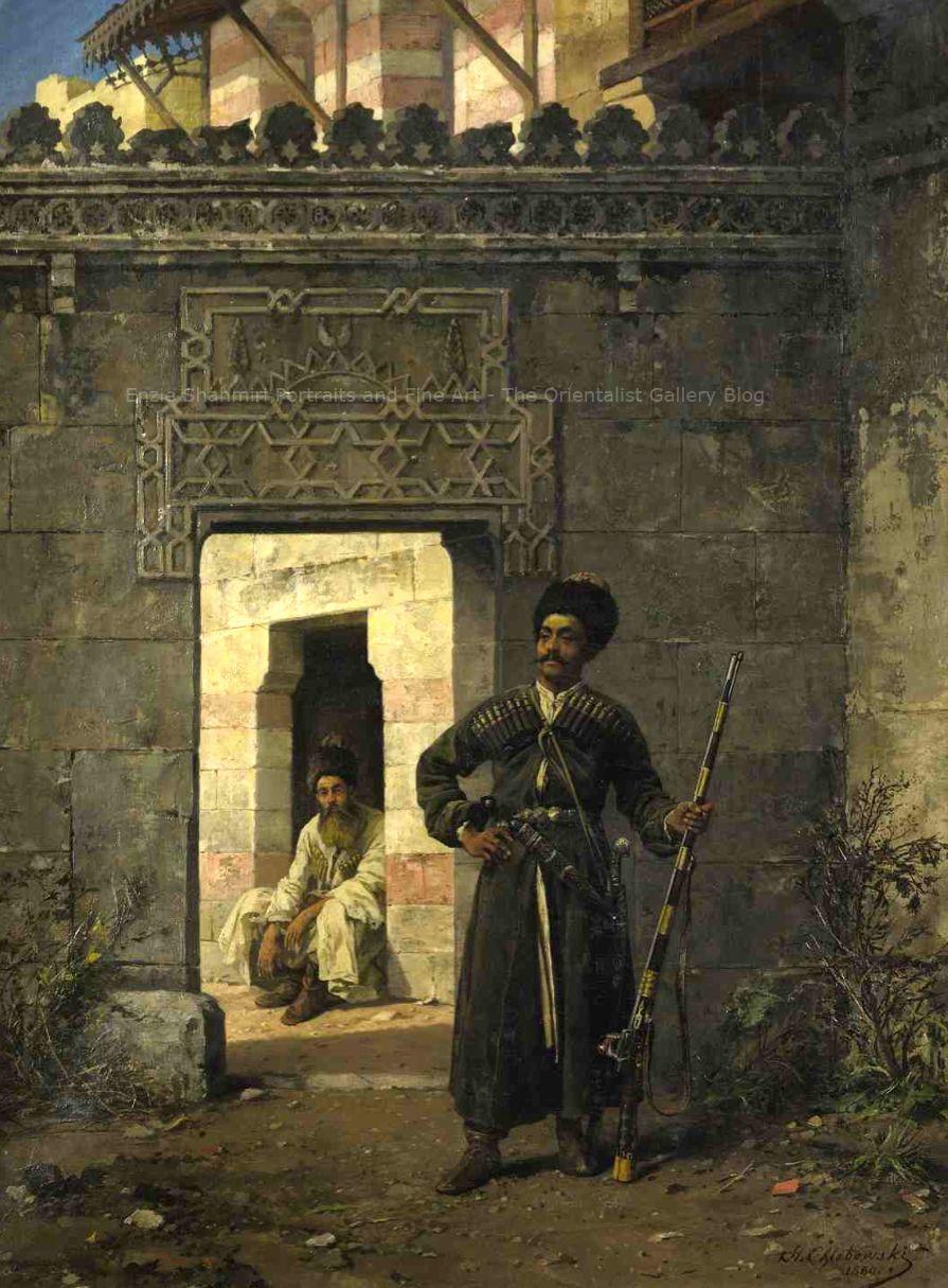 Stanislaus von Chebowski (1835 - 1884)  Title:The Circassian Guards  Medium: Oil on Canvas