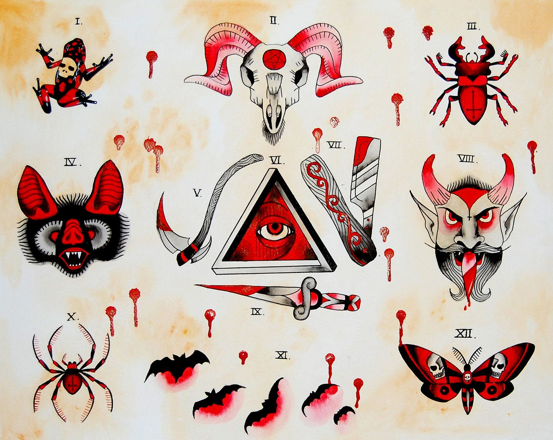 indian tattoo flash Google Search Halloween tattoo