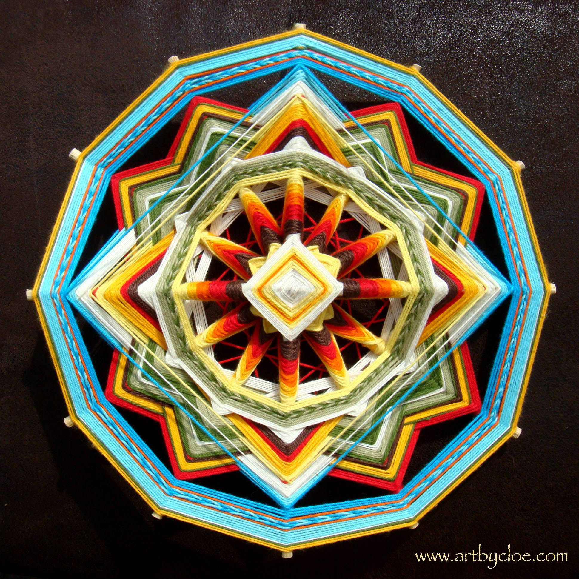Round wooden sticks for crafts - Weaving Mandala From Cotton Yarn And Wooden Sticks You Can Use Barbeque Sticks Or Single