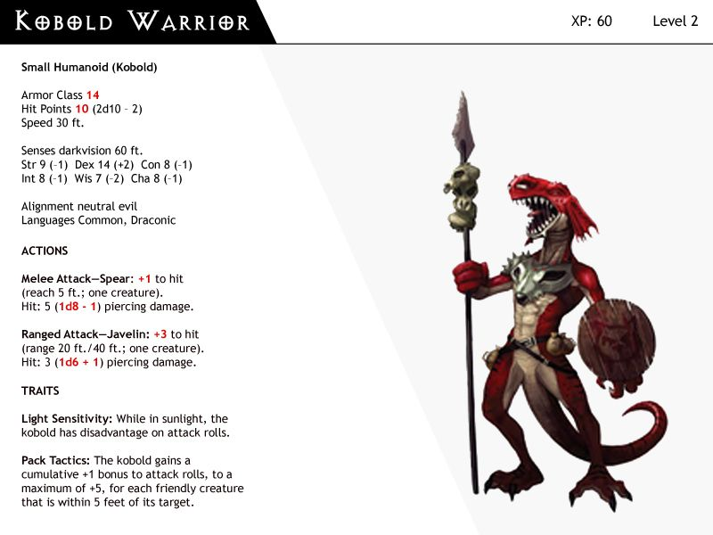 Dnd Next Monster Cards Kobold Warrior By Dizman Deviantart Com On Deviantart Monster Cards Dnd Dungeons And Dragons Homebrew