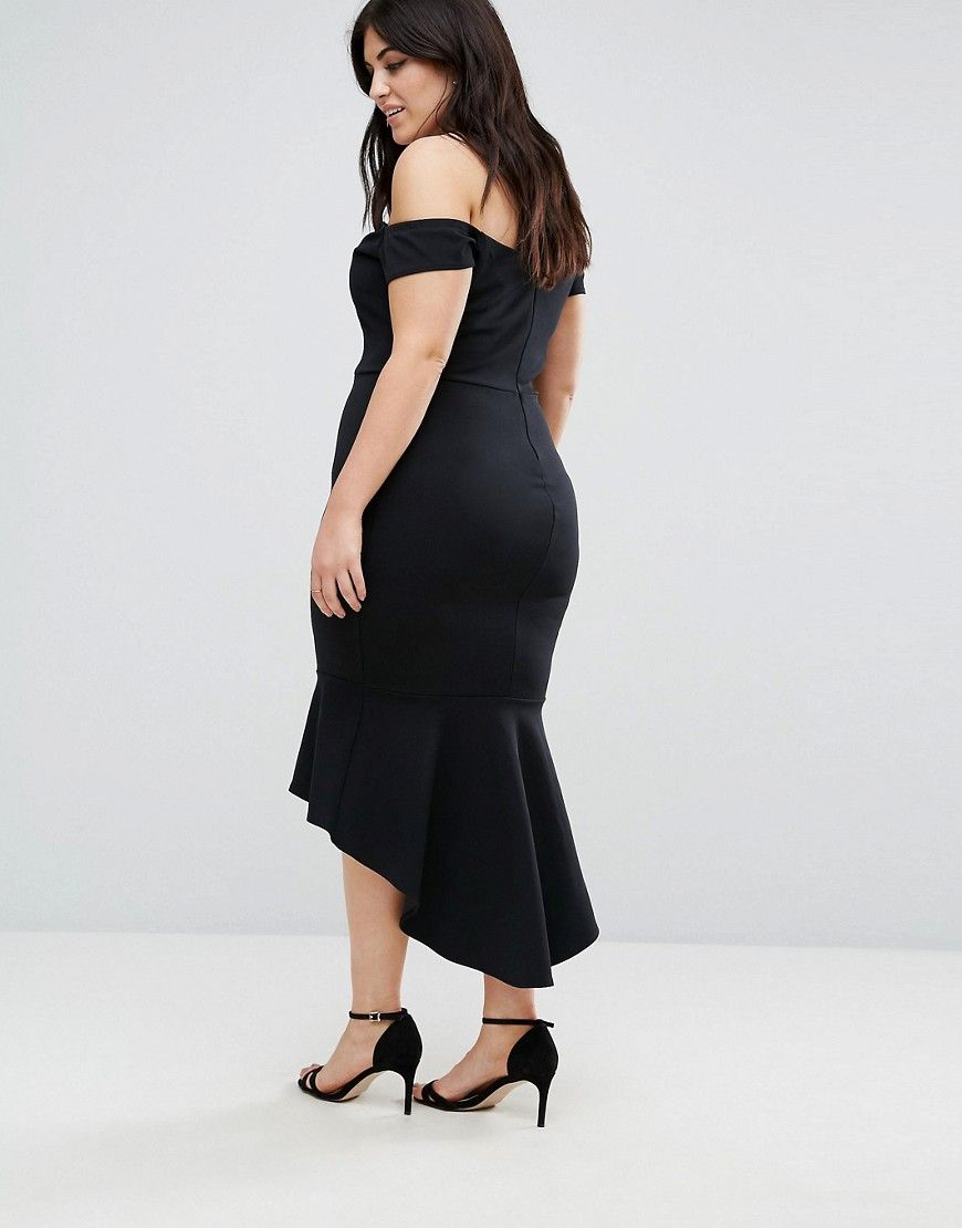 John Zack Plus Off Shoulder Ruffle Midi Dress - Black 90592fdd3