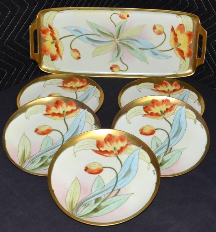 PICKARD ARTIST REURY HORS D'OUEVRE SANDWICH SNACK TRAY SET RED POPPIES 6 PCS