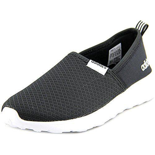 adidas NEO Women's Lite Racer Slip On W Casual Sneaker,Black/Black/White