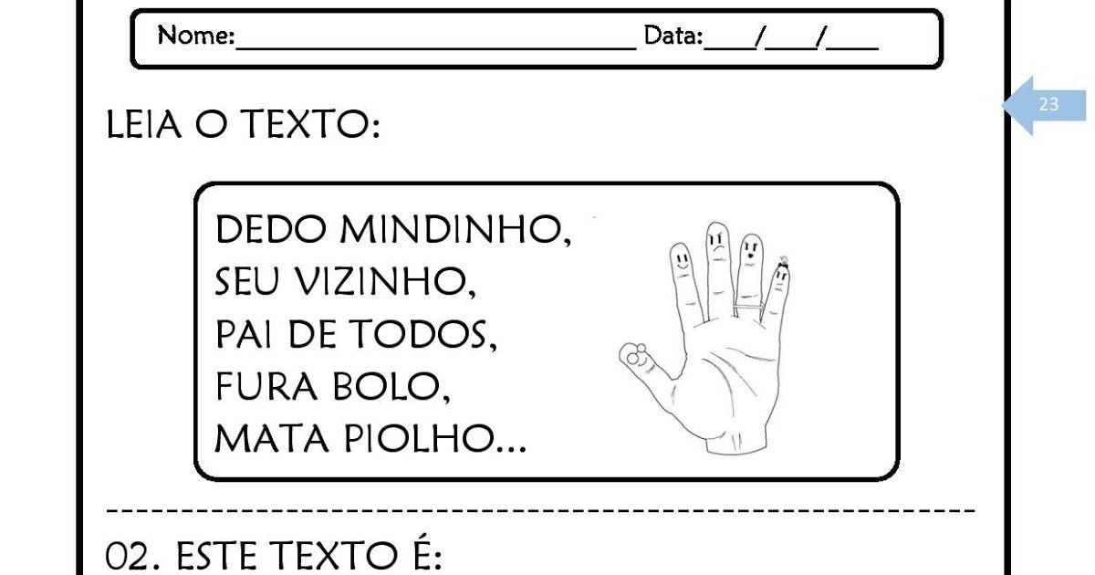 Texto Dedo Mindinho Com Atividades Para Alfabetizacao Dedo