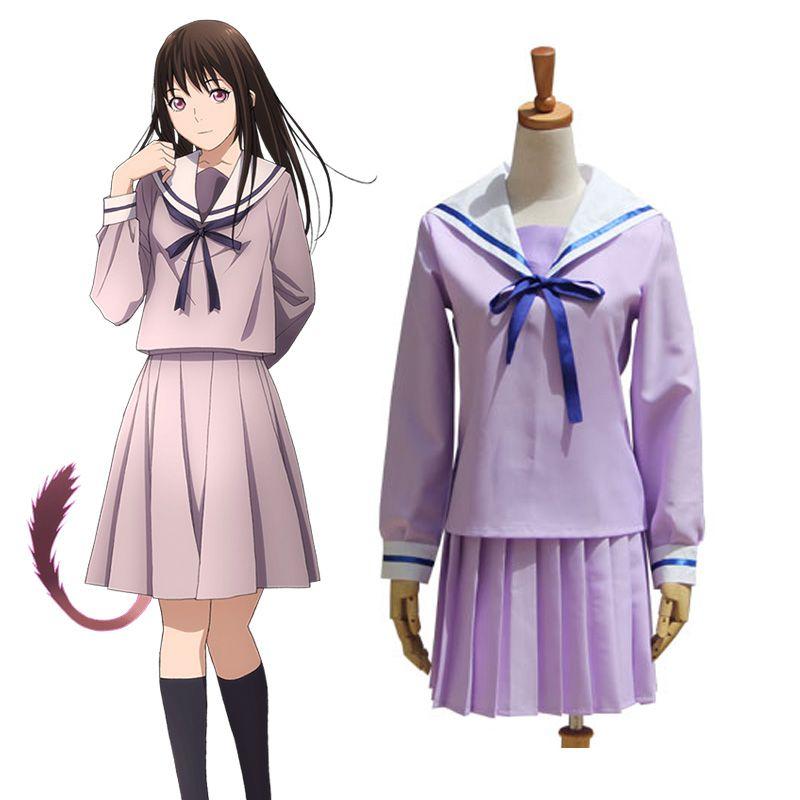 Noragami Iki Hiyori School Uniform Cosplay Costume Full Set Sailor Suit Dress