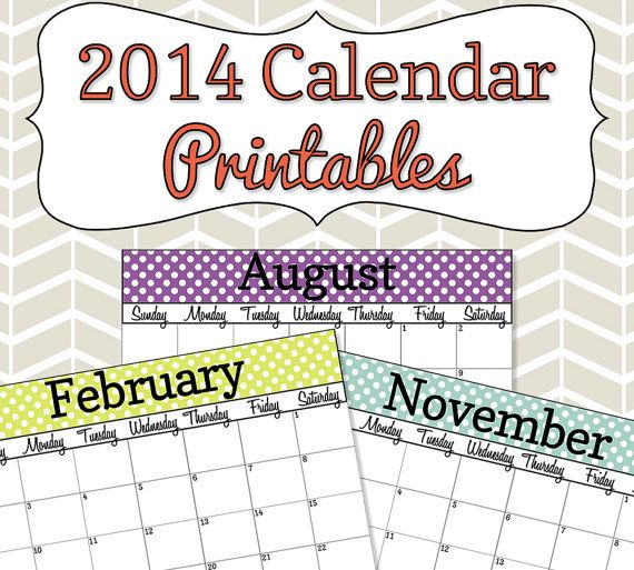 2014 Calendar Printables  Colorful Polka Dots  by SimplyBrenna, $5.00