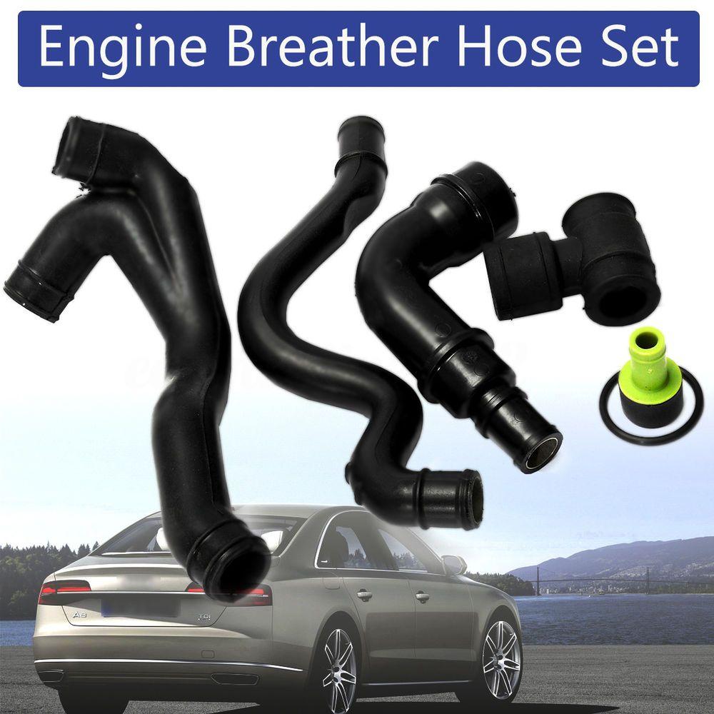 6pcs Black Engine Crankcase Breather Hose Pipe Set For VW Golf Jetta