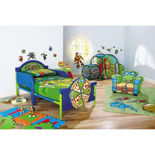 Bedroom Enamor Toddler Bedding With Green On Unique Blue Bed Below Teenage Mutant Ninja Turtles Wall Decor White Also Tnmt Dolls Colorful