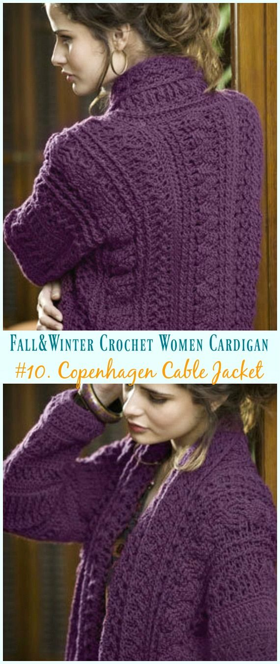 Fall & Winter Women Cardigan Free Crochet Patterns | Coats, Ponchos ...