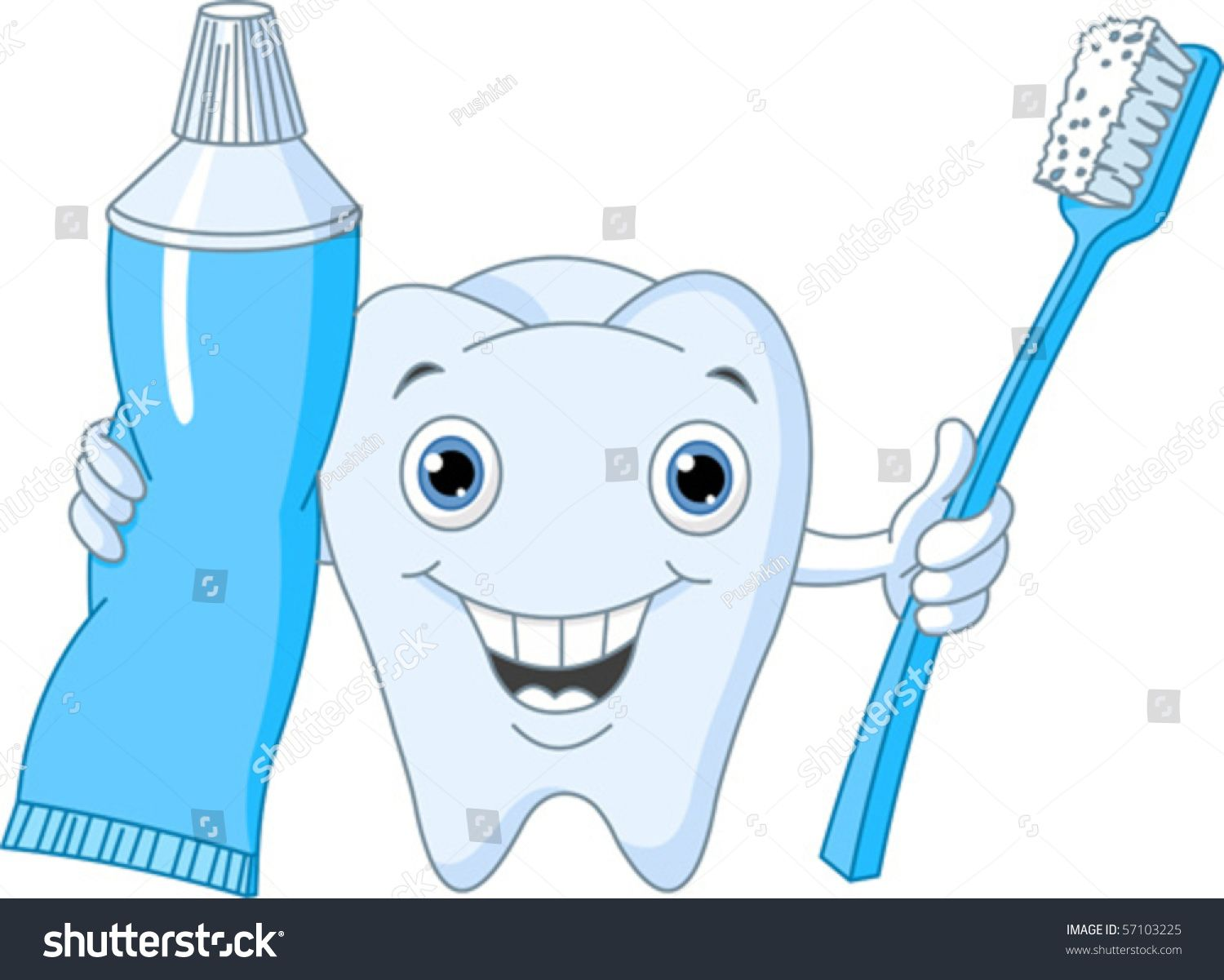 Cartoon Tooth Character Holding Toothbrush Toothpaste