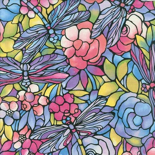 DRAGONFLY STAINED GLASS FABRIC